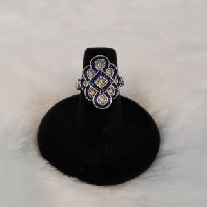 9.25 Silver, crystal and blue enameled ring